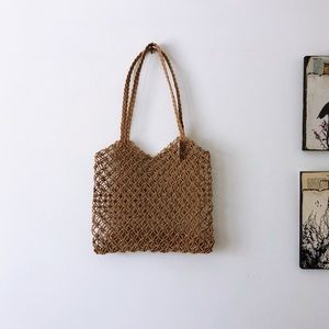 Handbags - Handwoven Knotted Fisherman Net Double handle tote